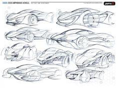 Amphi-X Dubai 2030 Amphibious Vehicle by Beichen Nan - design sketch.