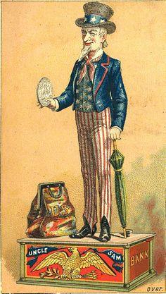 Vintage postcard of Uncle Sam Coin Bank