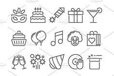 Party and birthday line icon by Kurokstas on @creativemarket