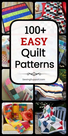 Quilt Patterns for the Beginner. 100+ easy and free quilt patterns, sewing projects and tutorials. Many quick and simple designs using squares, strips, fat quarters, and jelly rolls. Ideas for traditional, modern, baby quilts, and more. #SewingSupport #Quilt #Patterns #Beginner #Easy #Free #Quilting Beginner Quilt Patterns, Baby Quilt Patterns, Quilting For Beginners, Quilting Tips, Sewing Projects For Beginners, Sewing Patterns Free, Quilting Projects, Quilting Designs, Beginner Quilting