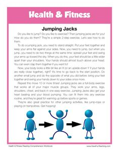 This Reading Comprehension Worksheet - Jumping Jacks is for teaching reading comprehension. Use this reading comprehension story to teach reading comprehension. Have Fun Teaching, Help Teaching, Teaching Reading, 6th Grade Reading, Reading Test, English Writing Skills, English Reading, Reading Comprehension Worksheets, Reading Fluency