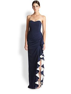 Badgley Mischka - Strapless Contrast Ruffle Gown - Saks.com 0409603732231 $670  - The ruffle is super fun! Watch the video to get the full effect. I like the contrast too.