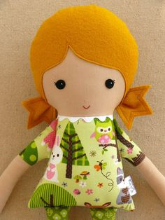 Fabric Doll Rag Doll Girl in Forest Print Dress by rovingovine