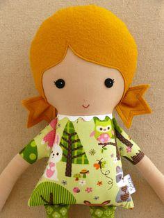 Fabric Doll Rag Doll Girl in Forest Print Dress by rovingovine