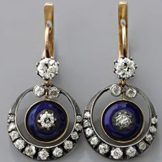 European-cut Diamond Earrings Victorian Cobalt Blue Enamel Antique