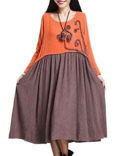 Contrast Color Patchwork Vintage Women Long Sleeve Dress - Gchoic.com