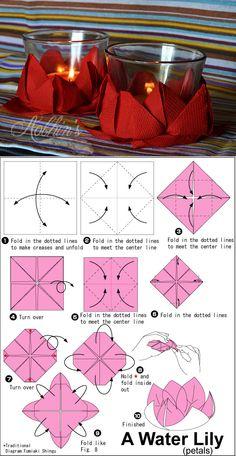 Waterlily Origami Perfect As A Very Cheap Candle Centerpiece Ninfea Perfetta Come Candela Centrotavola Economica E Di Bellaspetto