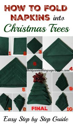 Learn How to Fold Napkins into Christmas Trees with this easy step by step tutorial!  - #ad #FamilyPizzaCombo  @cocacola @samsclub  ThirtySomethingSuperMom
