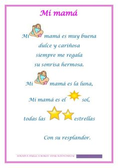 Textos iconoverbales - How To Make Things Spanish Lesson Plans, Spanish Lessons, Learning Spanish, Study Spanish, Mothers Day Poems, Mothers Day Crafts For Kids, Mommy Quotes, Father Quotes, Family Quotes
