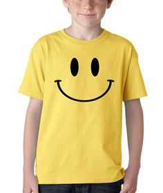 Kid's Smiley Face Shirt Printed Youth Happy Smile T-Shirt #1061 from $10.99 at xpressiontees.etsy.com | #ExpressionTees