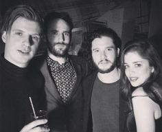 """ Kit Harington and Charlotte Hope with the members of 'Foals' band at the Brit Awards after party ""got February 24 2016"