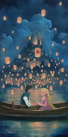 Floating lanterns glitter in the sky as Flynn and Rapunzel discover their star crossed love in a piece by Rob Kaz from a great moment in Tangled! Disney Rapunzel, Tangled Rapunzel, Rapunzel And Eugene, Princess Disney, Walt Disney, Cartoon Wallpaper, Tangled Wallpaper, Disney Phone Wallpaper, Wallpaper Quotes