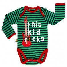 Groen gestreepte body 'This kid rocks' - Rockabye-baby