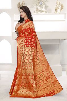 Buy Viva N Diva Red Colored Banarasi Silk Saree 21102 online at best prices. Get discount on Silk Sarees, Sarees with home delivery from Fashionnow.