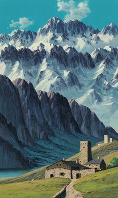 Laputa: Castle in the Sky (1986)Full image here. (1904x3193 6.2 Mb)