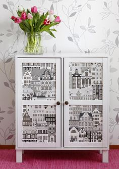 Good instructions on how to use wallpaper to modpodge an old piece