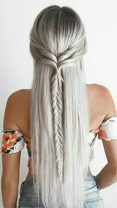 25 Easy Hairstyles for long hair – Hair Styles 2019 Haircuts For Long Hair, Braids For Long Hair, Straight Hairstyles For Long Hair, Curly Hair, Straight Hair With Braid, Straight Prom Hair, Long Hair Styles Straight, Short Haircuts, Evening Hairstyles