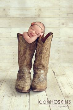 This is a definite for Joshua's first child in his old cowboy boots from his childhood.