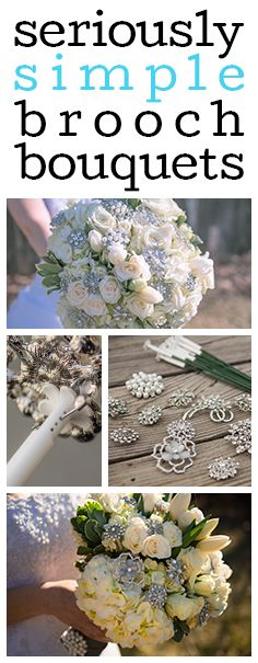 Brooch Bouquet Tutorial. No more tedious wiring! Add brooches to your bouquet the easy way! DIY