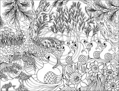 ☮ American Hippie Art ~ Coloring Pages . . Duck Pond