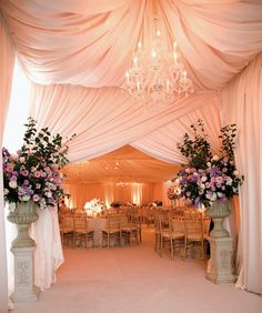 Pink ceremony entrance with drapes