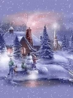 Animated christmas and winter snow. Winter landscapes and scenic wintery moving snow animations. Christmas Scenery, Christmas Images, Christmas Art, Christmas Greetings, Xmas, Beautiful Christmas Pictures, Animated Christmas Pictures, Winter Christmas Scenes, Christmas Cookies