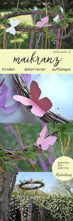 A magical DIY for the spring. DIY decoration for the terrace and the garden: The Maikranz. The step by step instructions and material information can be found in the link. Spring Decoration, Fall Decor, Diy Pinterest, Diy Presents, Spring Activities, Diy Patio, Diy Christmas Gifts, Cheap Christmas, Diy Dress