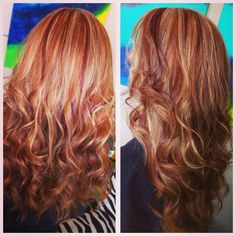 Copper hair with blonde highlight and red lowlights on a natural red head
