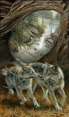 A Place to Share Your Most Beautiful Images Native American Wolf, Native American Pictures, American Indian Art, Illusion Paintings, Illusion Art, Fantasy Wolf, Fantasy Art, Spiritual Animal, Wolf Artwork