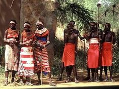 nilotic tribespeople of kenya in traditional dress