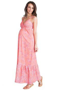 171c8ba123df3 Seraphine Matilda Bohemian Printed Maternity and Nursing Maxi Dress - in  Pink/Coral |Maternity