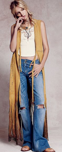 Wide leg denim with tan suede fringed vest
