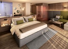 NEW #VITAL #SUITE, 55 m² New suite (including 10 m² south-facing loggia) with extra-large comfort bed with thermo regulatory properties (210 x 200) with panoramic view, starry sky and wellness infrared sauna. The Vital Suite also features: oak floor, minibar, hairdryer, spa bag and bathrobes, sauna towels and bath towels, open bathroom with large rainshower, WC, bidet, safe, telephone, Flat-TV, WiFi, underground parking space, relax-lounge on the loggia.