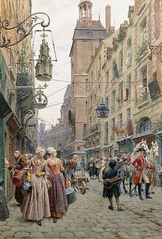 "Maurice Leloir: Maurice Leloir ""Eine belebte Straße (Une Rue Animée). 1898."