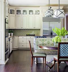 White cabinets with glass cabinet tops