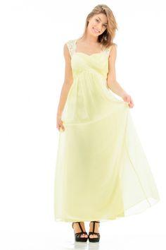 ROBE JAUNE BRETELLE EN DENTELLE http://www.princesseboutique.com/26-robes-de-soirees