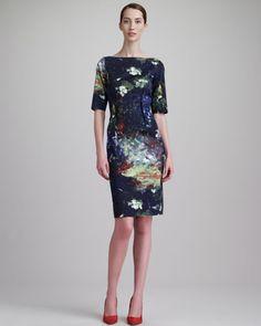Brushstroke-Print Boat-Neck Dress, Juniper/Multi by Lela Rose at Bergdorf Goodman.
