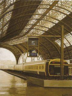"huariqueje: "" Estacion de Francia - Amalia Avia , Spanish, Oil on panel, "" Spanish Painters, Madrid, Train, Building, Painting, Big Boys, Landscapes, Industrial, Oil"