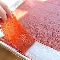 Homemade Fruit Leather:   2 cups fruit pulp, 1 Tbsp lemon juice, 1/4 sugar (optional).  Preheat oven to 150-170 degrees F, spread mixture over baking sheet.  Bake up to 12 hours until set.  Cut into 12 equal strips and enjoy!