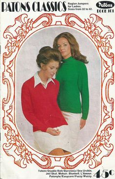 Patons Classics Knitting Book No.101 - Raglan Jumpers For Ladies - 1960s