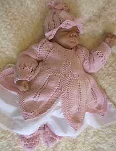 Ravelry: ROSSETTI*** Petal edged matinee set for a baby girl or reborn doll pattern by Karen Ashton-Mills Baby Booties Knitting Pattern, Baby Sweater Patterns, Baby Patterns, Baby Knitting Patterns Free Newborn, Crochet Applique Patterns Free, Baby Doll Nursery, Knitting Kits, Knitting Needles, Baby Sweaters