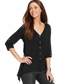 Karen Kane Three-Quarter-Sleeve Button-Front Asymmetrical-Hem Top