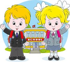 Cute school children vectors geaphics set 04