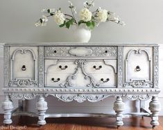 Items similar to SOLD! - RARE Antique Ornate Carved Jacobean Hand Painted French Country Shabby Chic Weathered White Grey Buffet Sideboard Cabinet on Etsy Hand Painted Furniture, Refurbished Furniture, Paint Furniture, Repurposed Furniture, Furniture Projects, Furniture Makeover, Furniture Decor, Furniture Removal, Office Furniture
