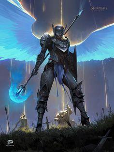 ArtStation - Blue Bird, i Asimov High Fantasy, Dark Fantasy Art, Fantasy Artwork, Fantasy World, Angel Warrior, Fantasy Warrior, Dark Souls, Blue Bird Art, Dnd Art