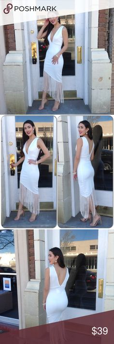 White Fringe Dress *New Listing 1-28 With a touch of roaring 20's, This gorgeous sleeveless dress features asymmetric fringe hem. V neck and back line. Lined cleavage. 95% Polyester, 5% Spandex (This closet does not trade or use PayPal) Boutique Dresses Asymmetrical