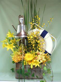 Nautical themed sympathy arrangement  Mill Street Florist