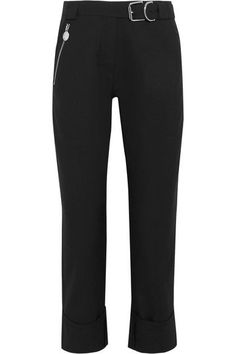 Carven - Cropped Belted Canvas Straight-leg Pants - Black - FR