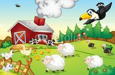 Wall Mural farm scene - cartoon - farm • PIXERSIZE.com