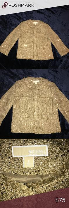 Women's Michael Kors Gold Tweed Jacket Blazer Sz 2 Michael Kors Gold Tweed Sequined Blazer Jacket with snap buttons. Worn once like New EXCELLENT Condition Michael Kors Jackets & Coats Blazers